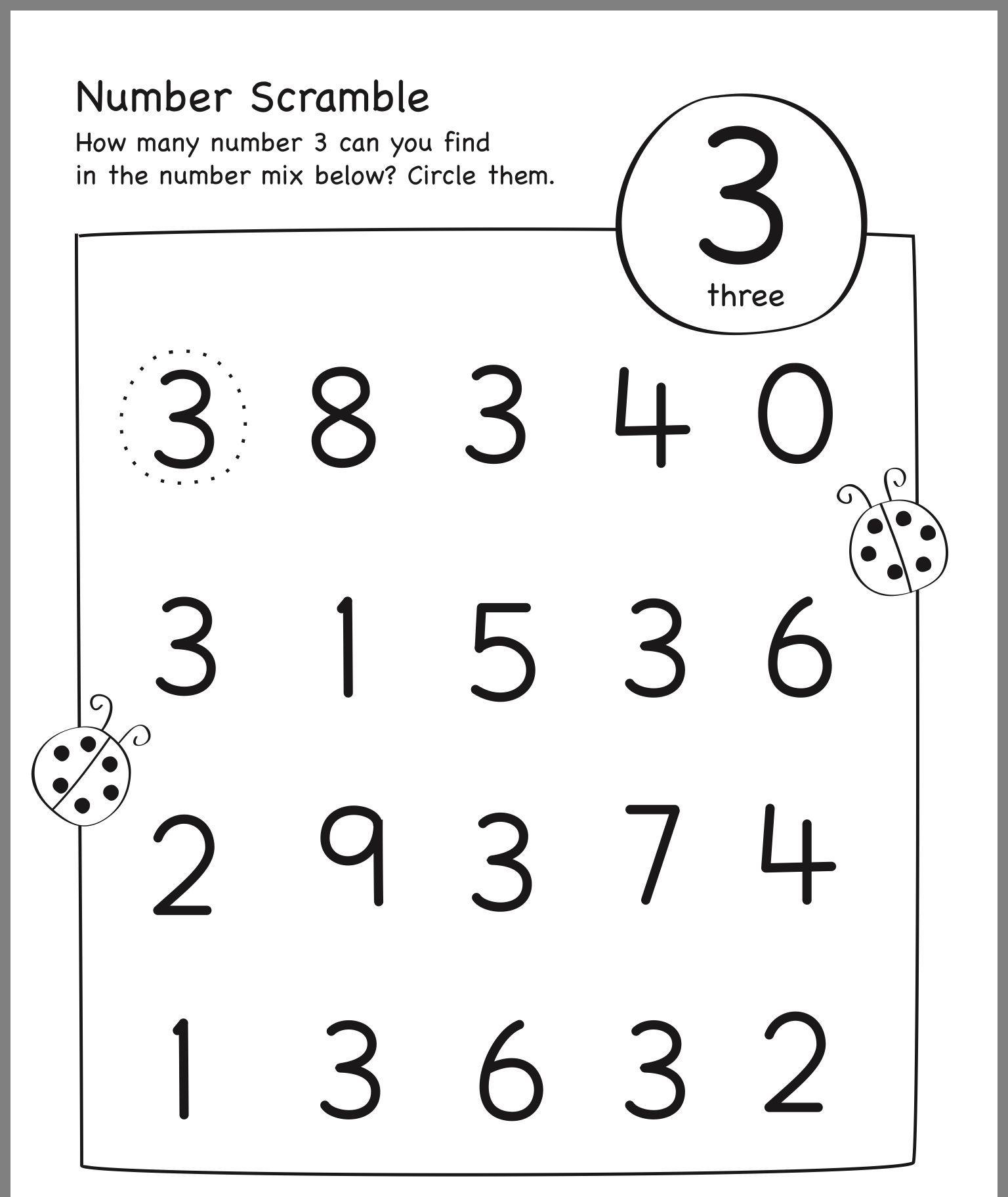 Worksheet For Nursery Maths Number 3