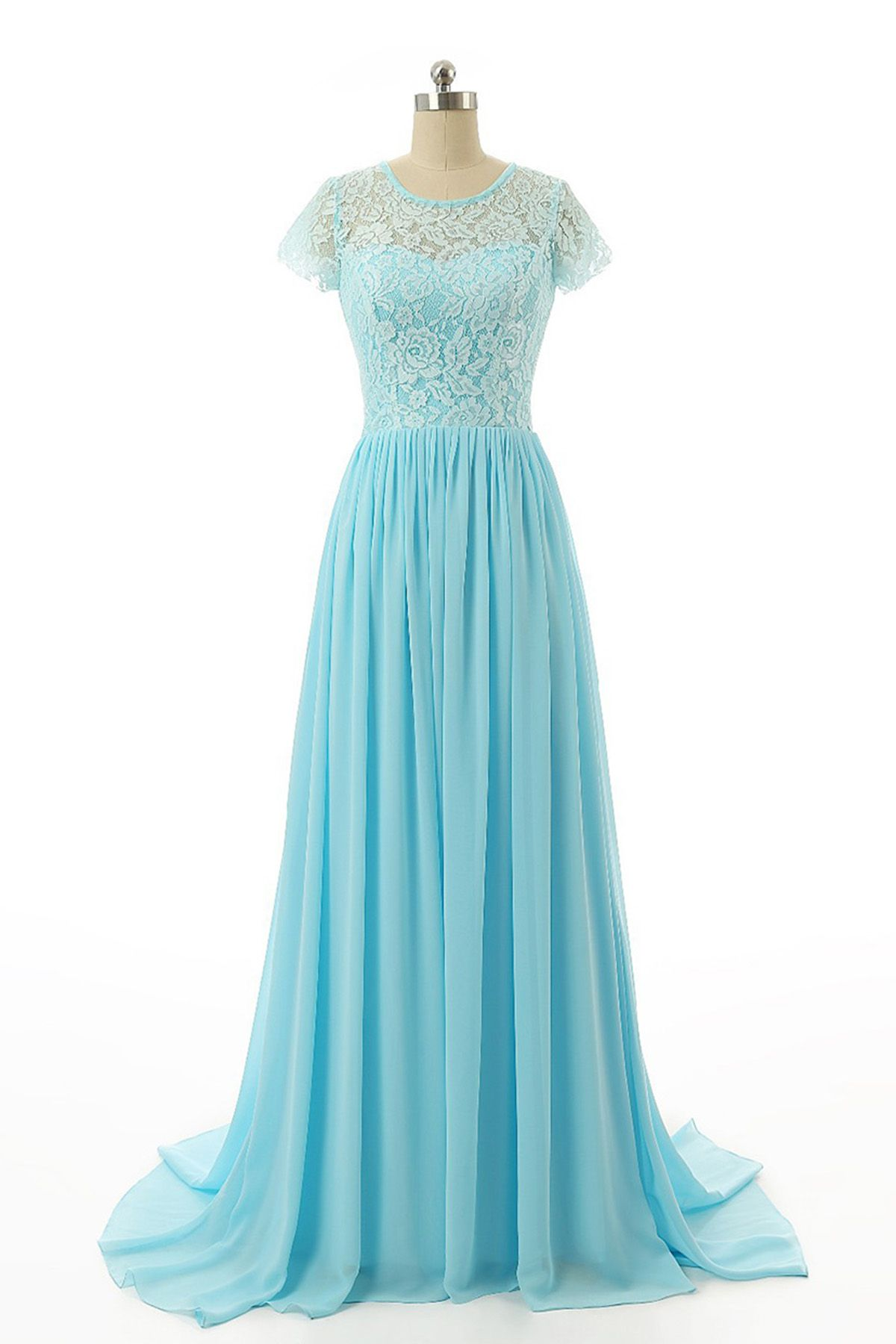 Simple ice blue chiffon long prom dress lace top bridesmaid dress
