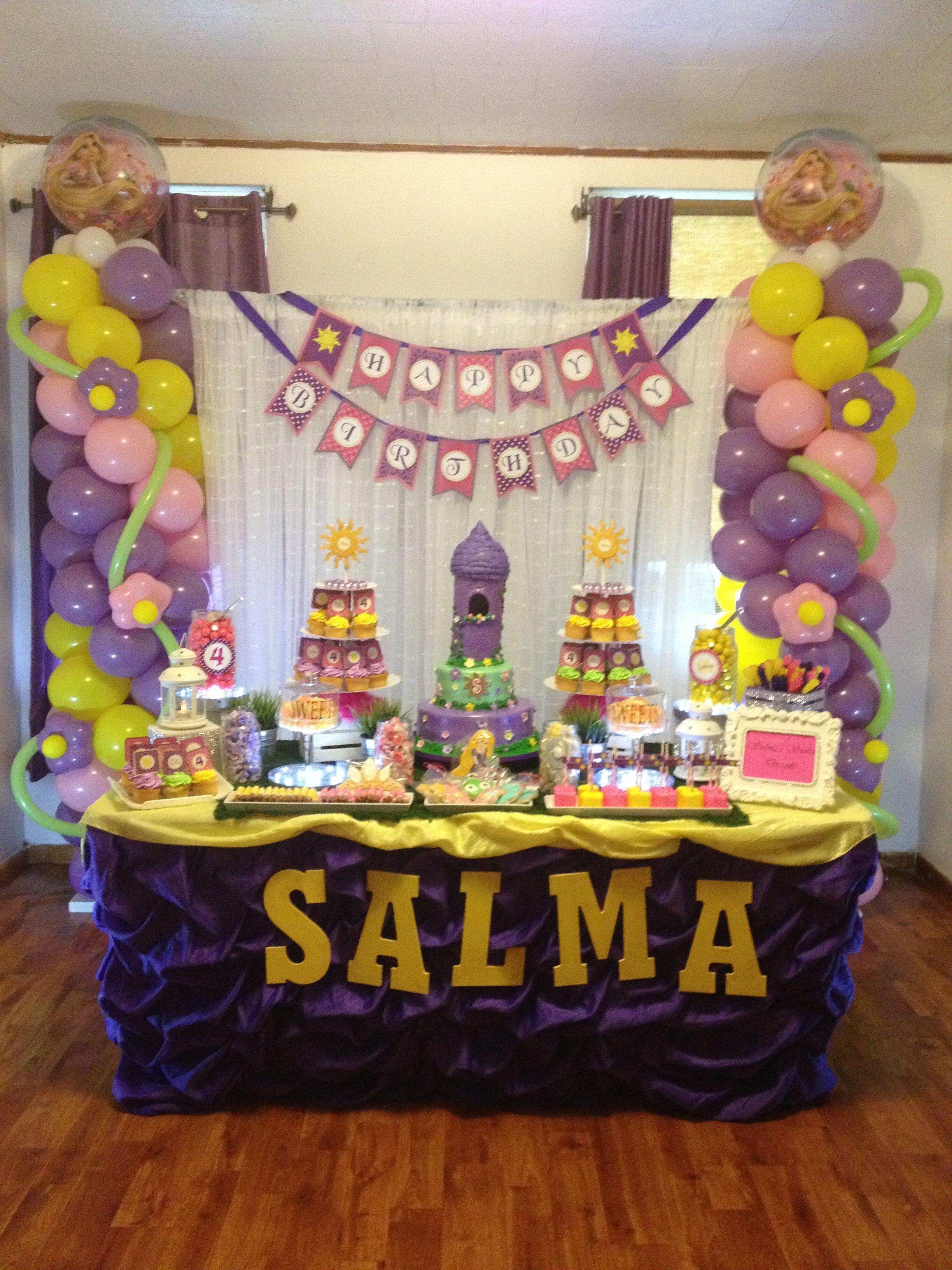 Rapunzel Themed Sweets Table Balloons Decor Balloons