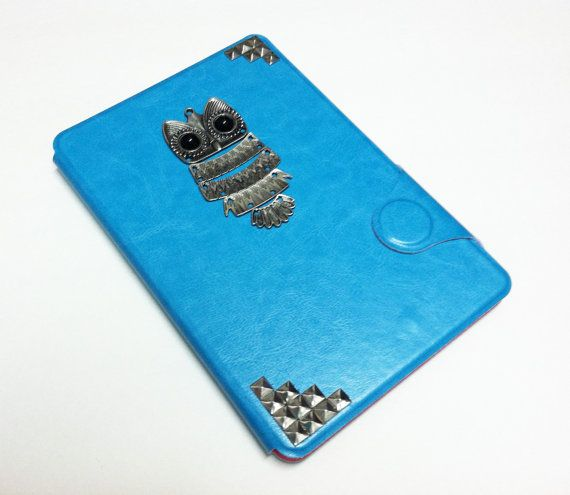 Cute Owl iPad mini case, Luxury Magnetic Flip Blue Faux Leather iPad Mini case with Silver Owl