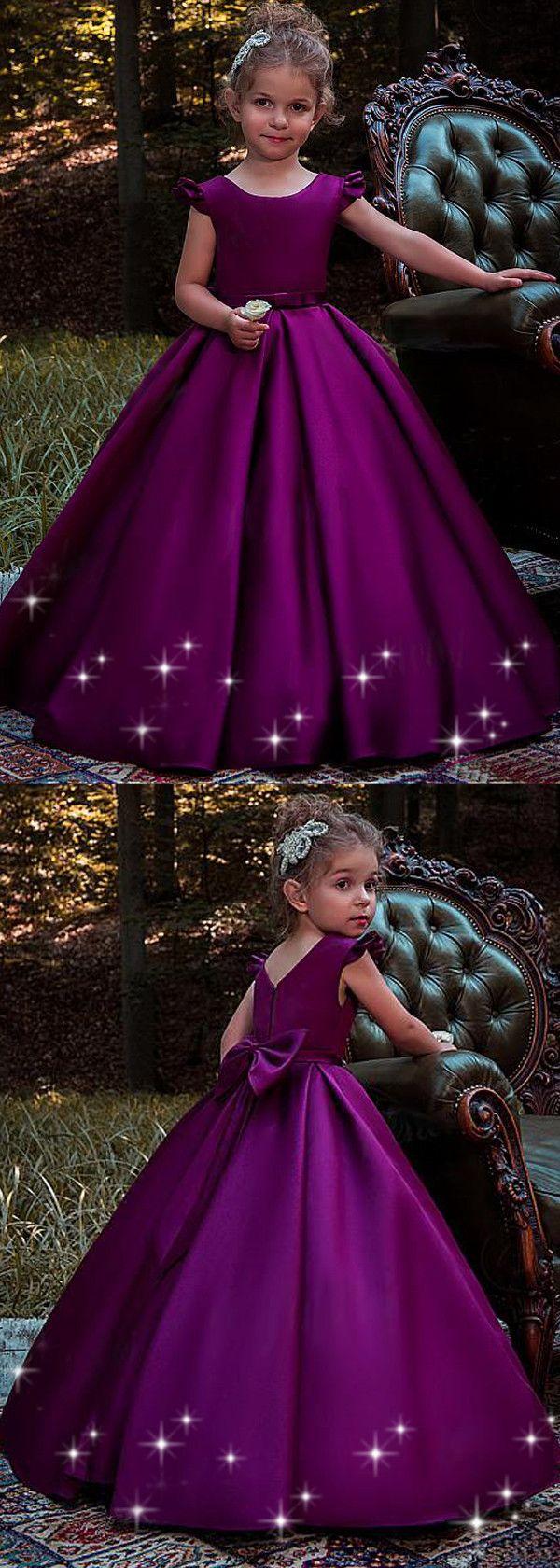 Sweet Satin Scoop Neckline Cap Sleeves Floor-length Ball Gown Flower ...