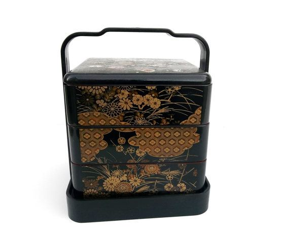 Vintage Japanese Lacquer Bento Lunch Box 3 Tier by LotusInTheWind