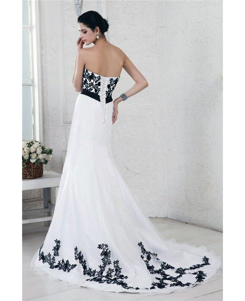 Black white wedding dress  ALine Strapless Sweep Train Embroidery Wedding Dresses with Sash
