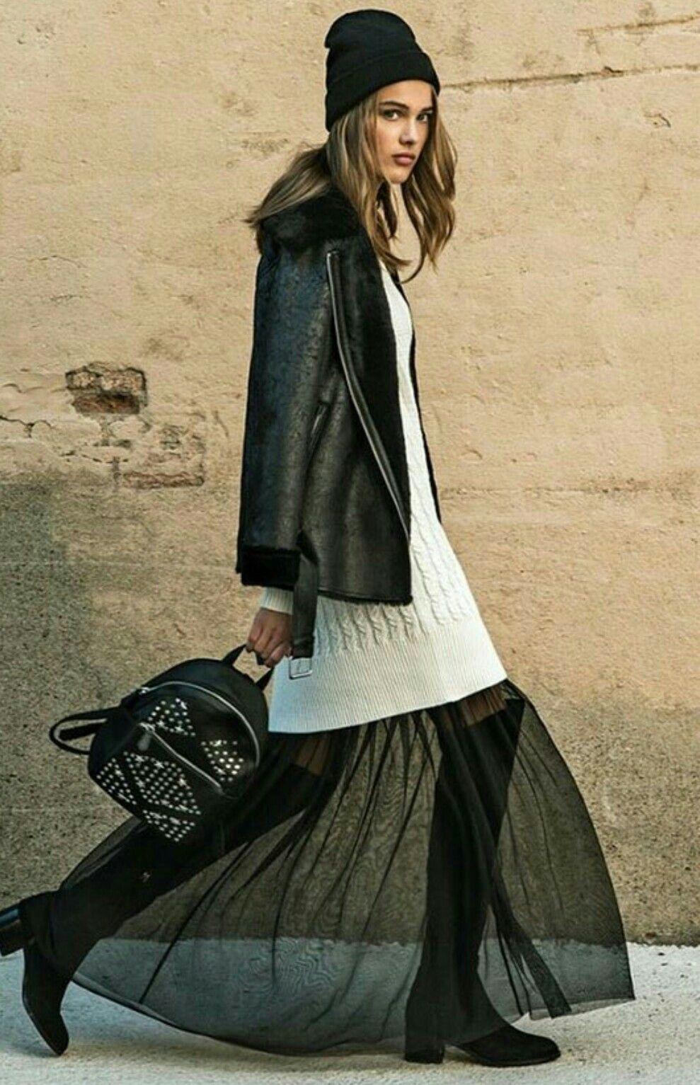 Black tulle dress sweater winter dress style my fur coat winter
