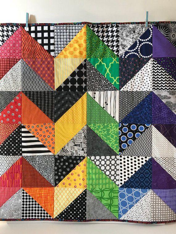 "Modern Baby Quilt, ""Olivia"", Geometric, Baby Blanket ..."