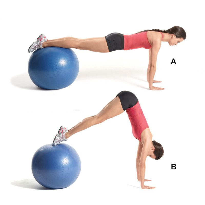 Stability Ball Upper Body Workout: Superset 1B Stability Ball Ab Pike
