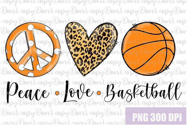 Download Peace Love Basketball Leopard Sublimation Design PNG in ...