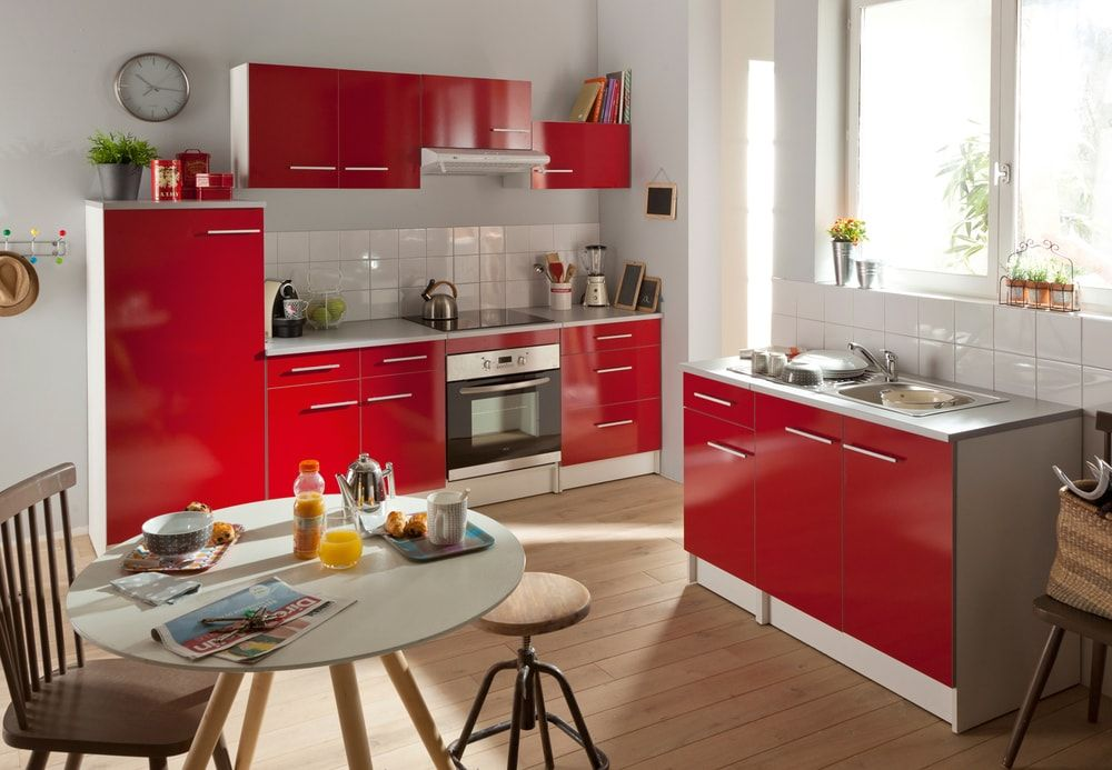 cuisine Conforama coloris rouge kitchen Pinterest - Photo Cuisine Rouge Et Grise