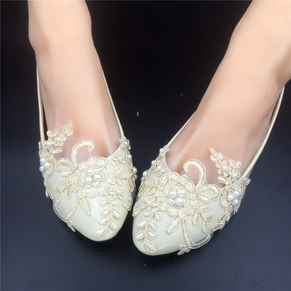 Champagne Lace Bridesmaids Shoes,Rhinestone Bridal Shoes