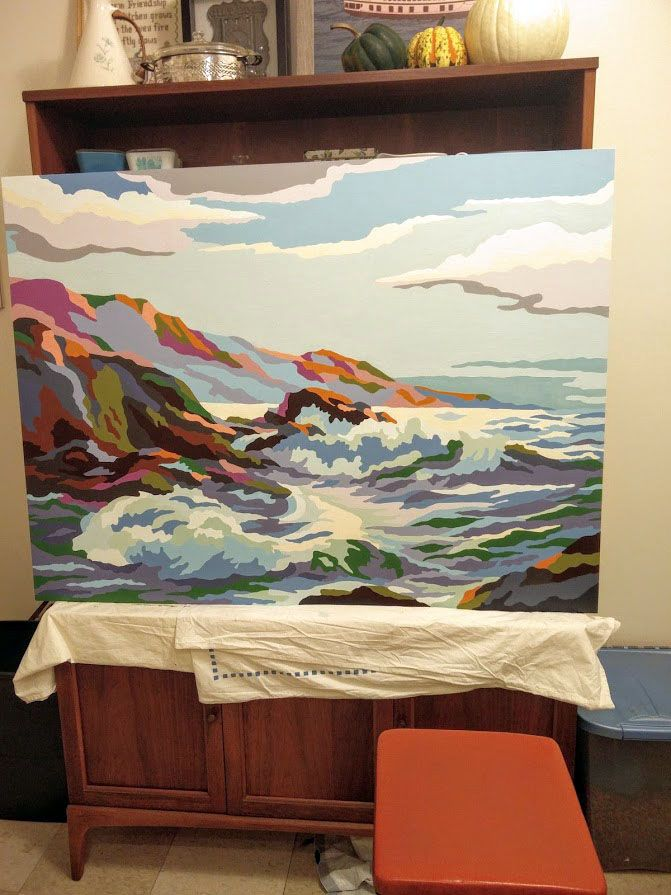 Diy Large Scale Paint By Number Had So Much Fun Working On This Tags Artwork Painting Seascape Vintage Diy Evel Large Painting Painting Mural Design