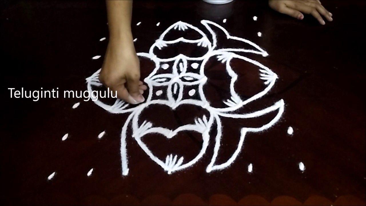 Simple Flowers kolam designs with 7-7 straight   chukkala muggulu with d...
