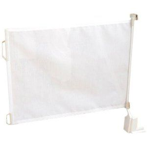 retractable baby gate...retractable window shade with hook on the wall?