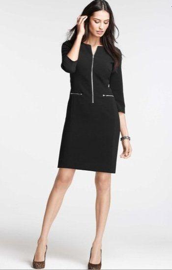 Long black dress 3 4 sleeve zip front