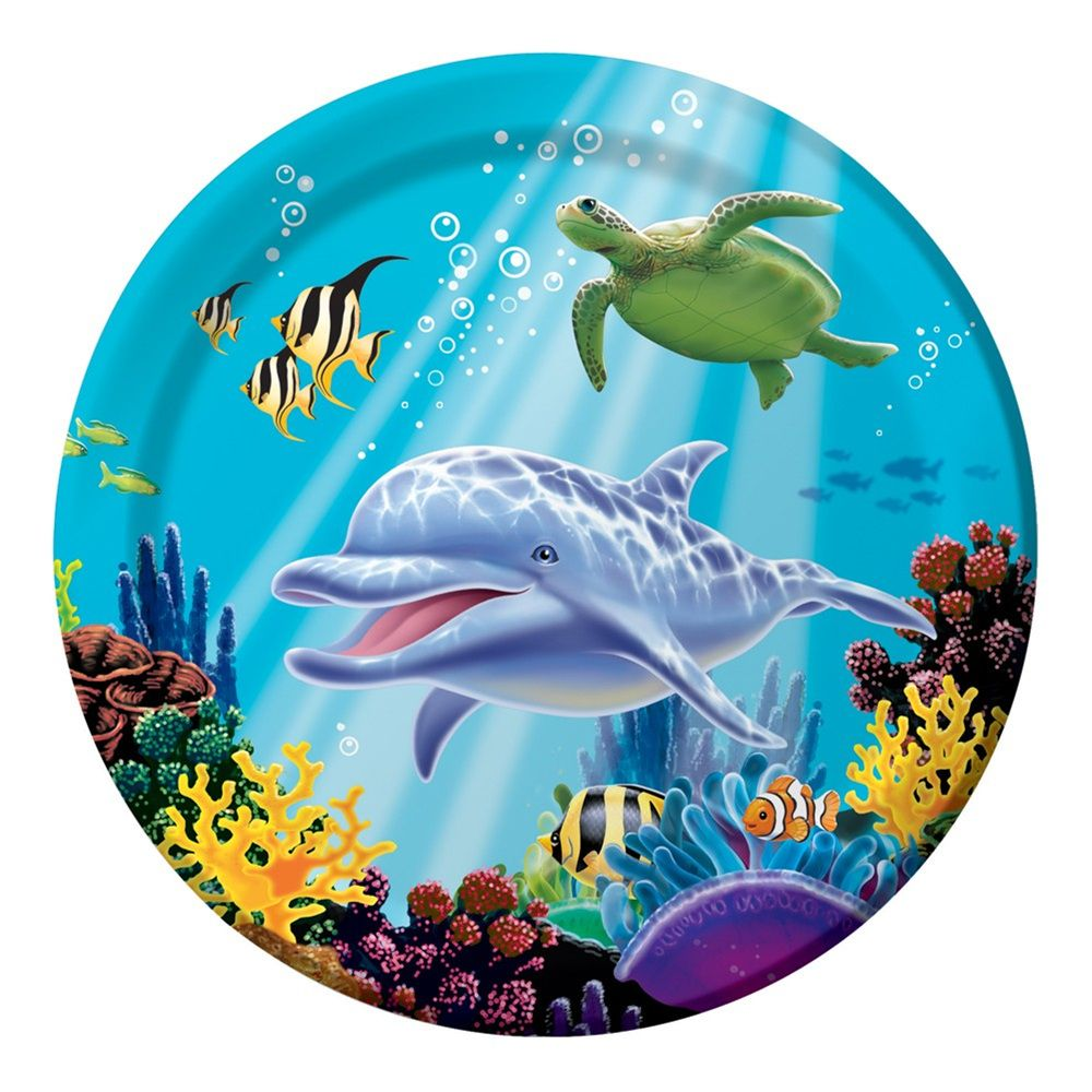 9 Inch Round Dinner Plates Ocean Party In 2020 Dolphin Party