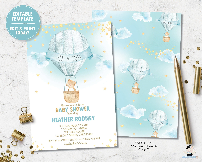 Hot Air Balloon Invitation Hot Air Balloon Baby Shower Invitation