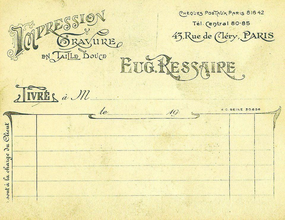 Free Graphics Friday: Vintage French Ephemera Receipt - ...Along the Left Bank…Along the Left Bank