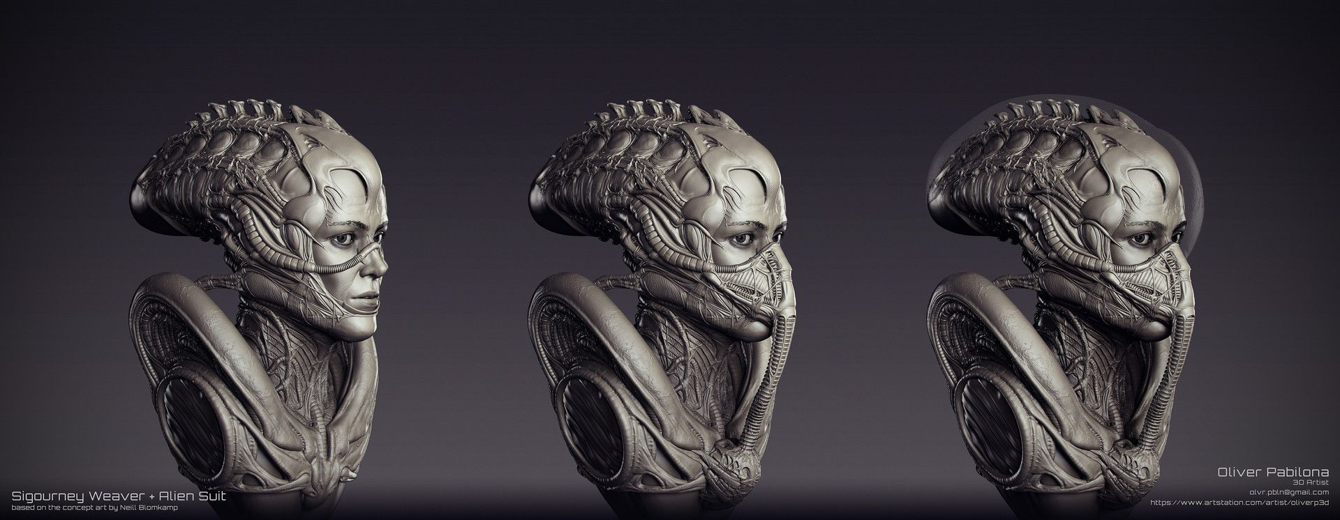 artstation sigourney weaver alien suit sculpt