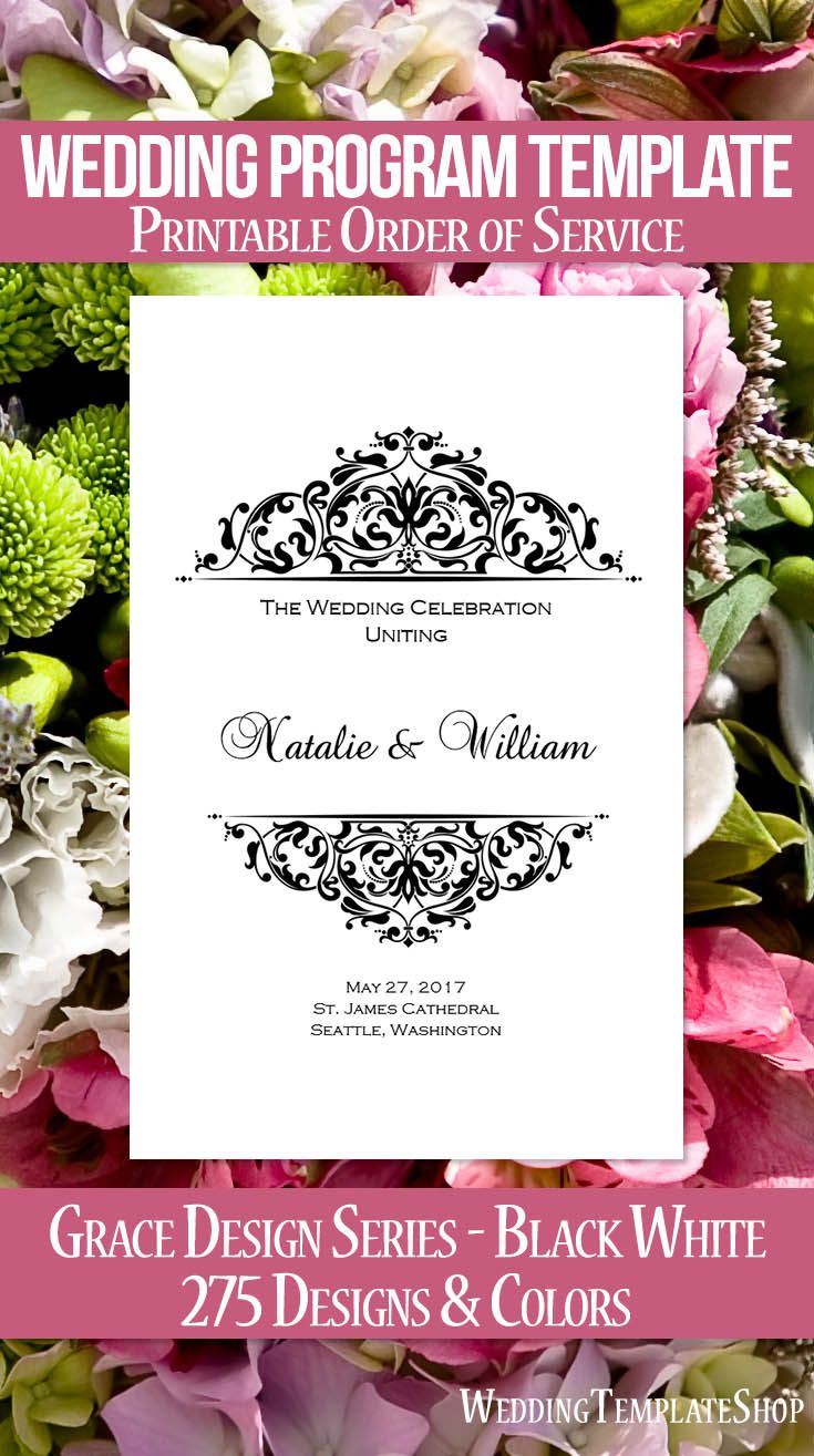 Wedding Program Template Grace Black White  Program Template
