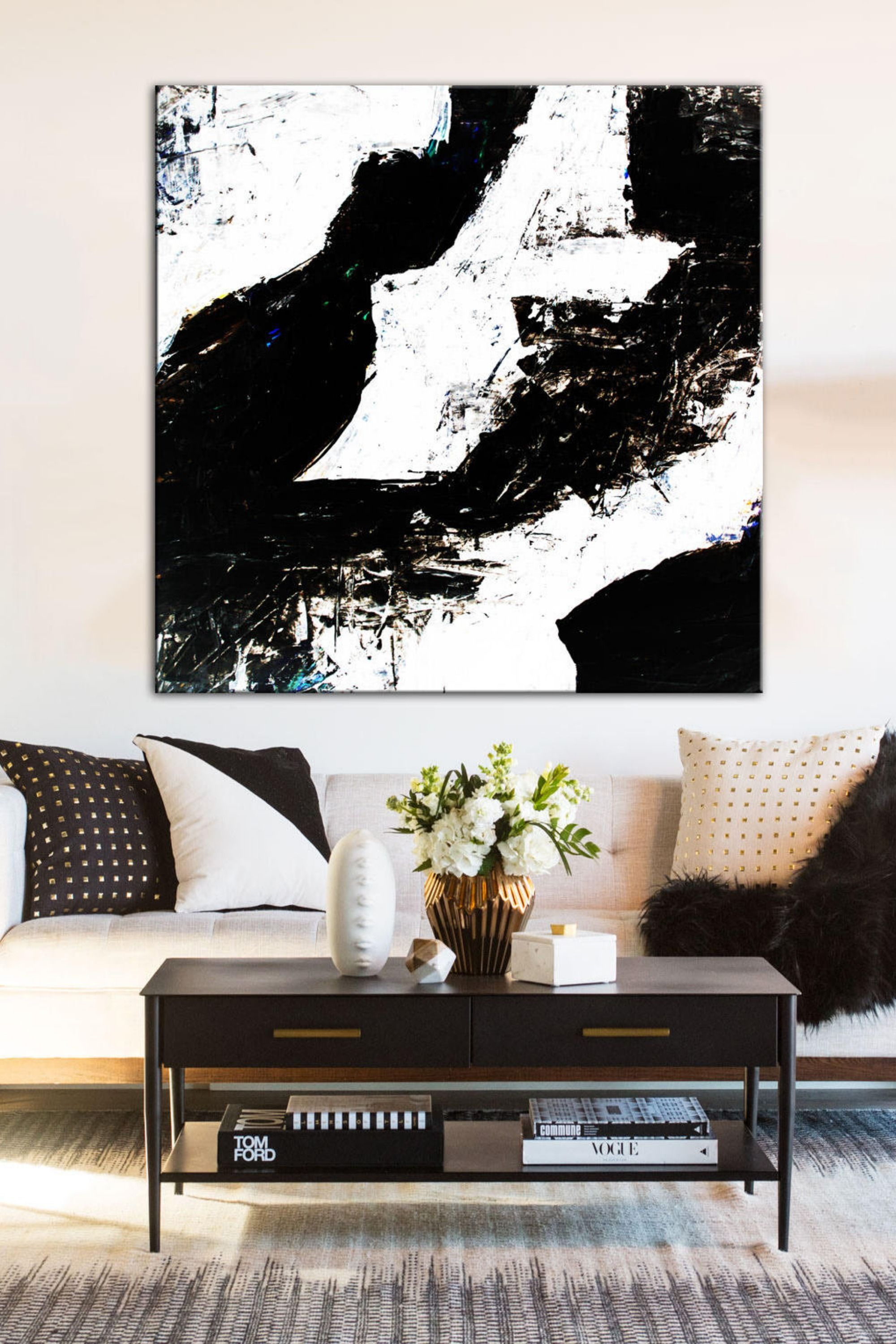 Large Contemporary Painting Black White Art White Painting Artwork Canvas Hand Paint Canvas Art Original Wall Art Living Room Wall Art Original Wall Art White Painting Living Room Art