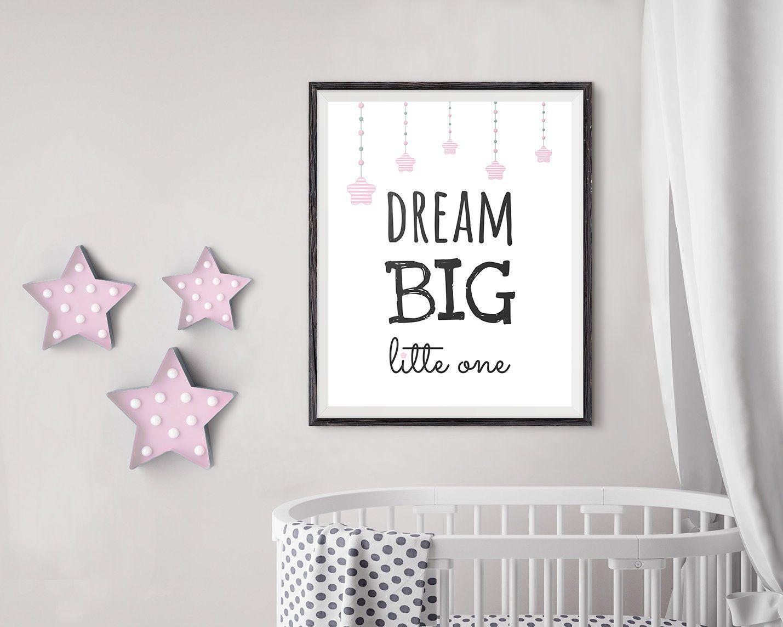 Pink Little Star Nursery Print Baby Girl/'s Bedroom Wall Art Decor