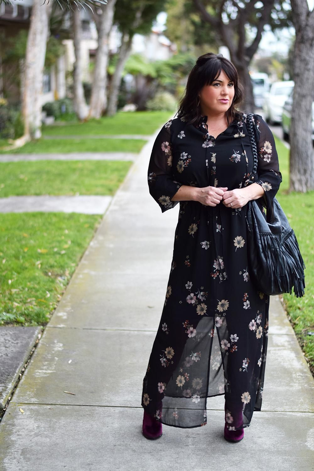 How To Wear A Floral Maxi Midi Dress In Winter Outfit Barefoot In La Fashion Blog Style Ideas 0106 Women S Midi Maxi Dress Winter Outfits Women Winter Dresses