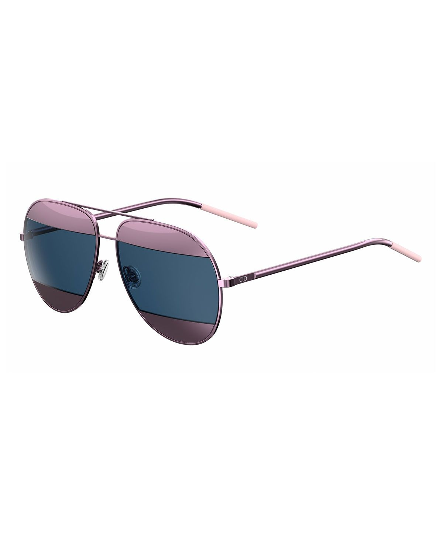 bfc6efdbbb18 Dior DiorSplit Two-Tone Metallic Aviator Sunglasses