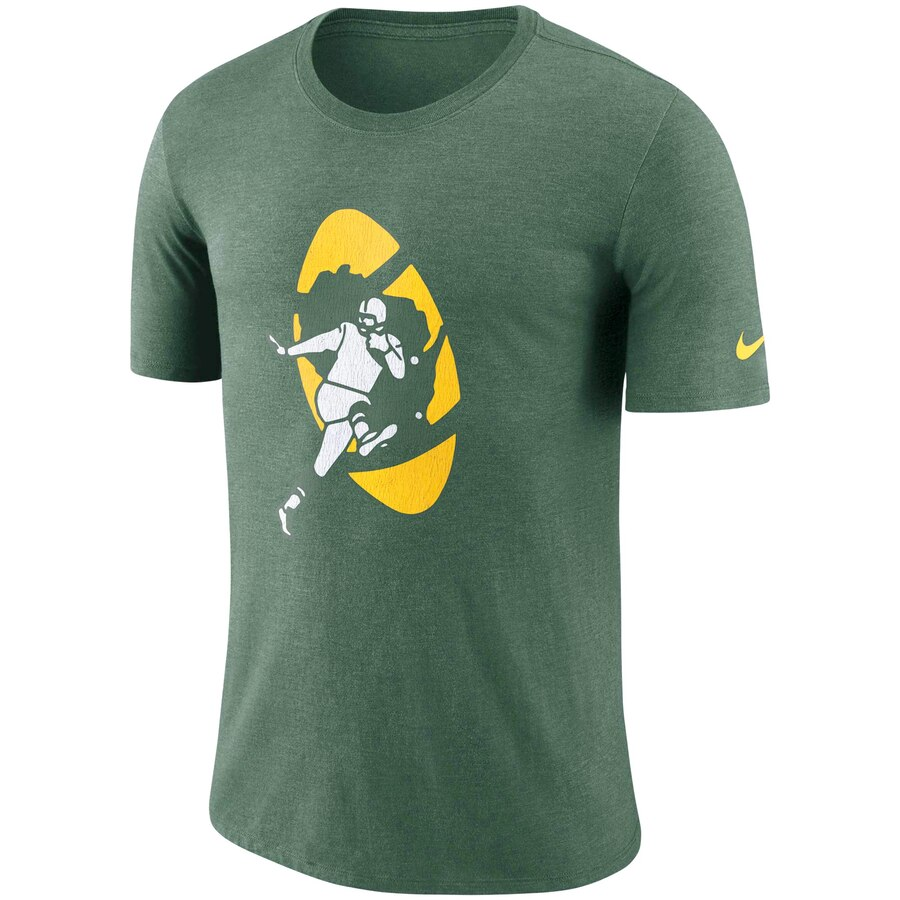 Men S Green Bay Packers Nike Heathered Green Historic Tri Blend Crackle T Shirt Mens Green Nike Men Mens Tshirts