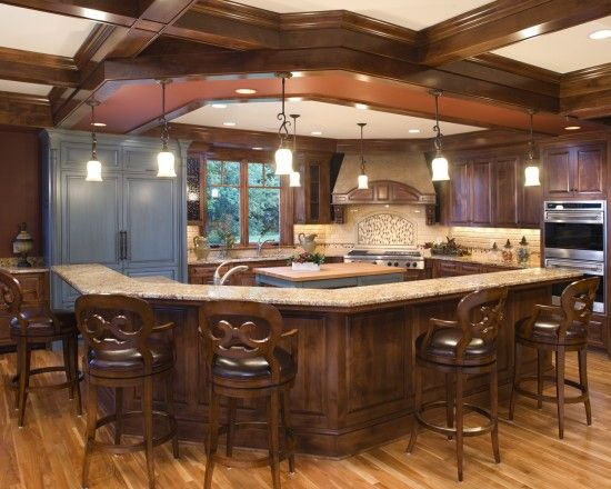 Wrap Around Bar Counter Kitchen Design Open Eclectic Kitchen