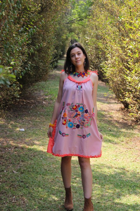 Lilac pink and Coral  and multi colored One of a kind Hand Embroidered Mexican Spaghetti strapped dress #mexicanspaghetti