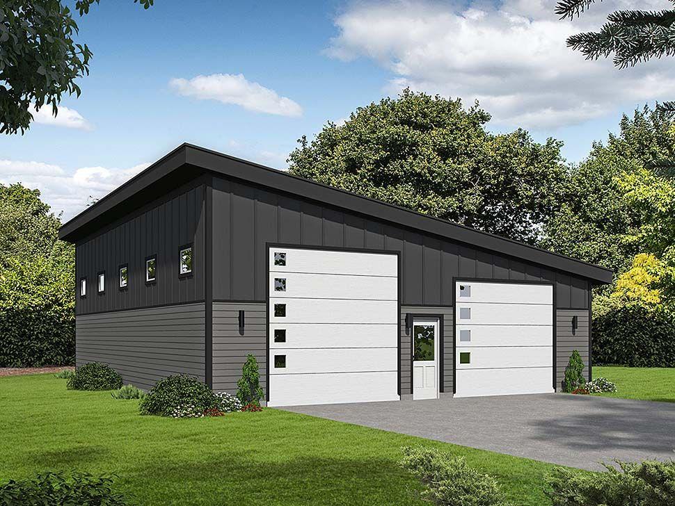 Modern Style 2 Car Garage Plan Number 40807 , RV Storage