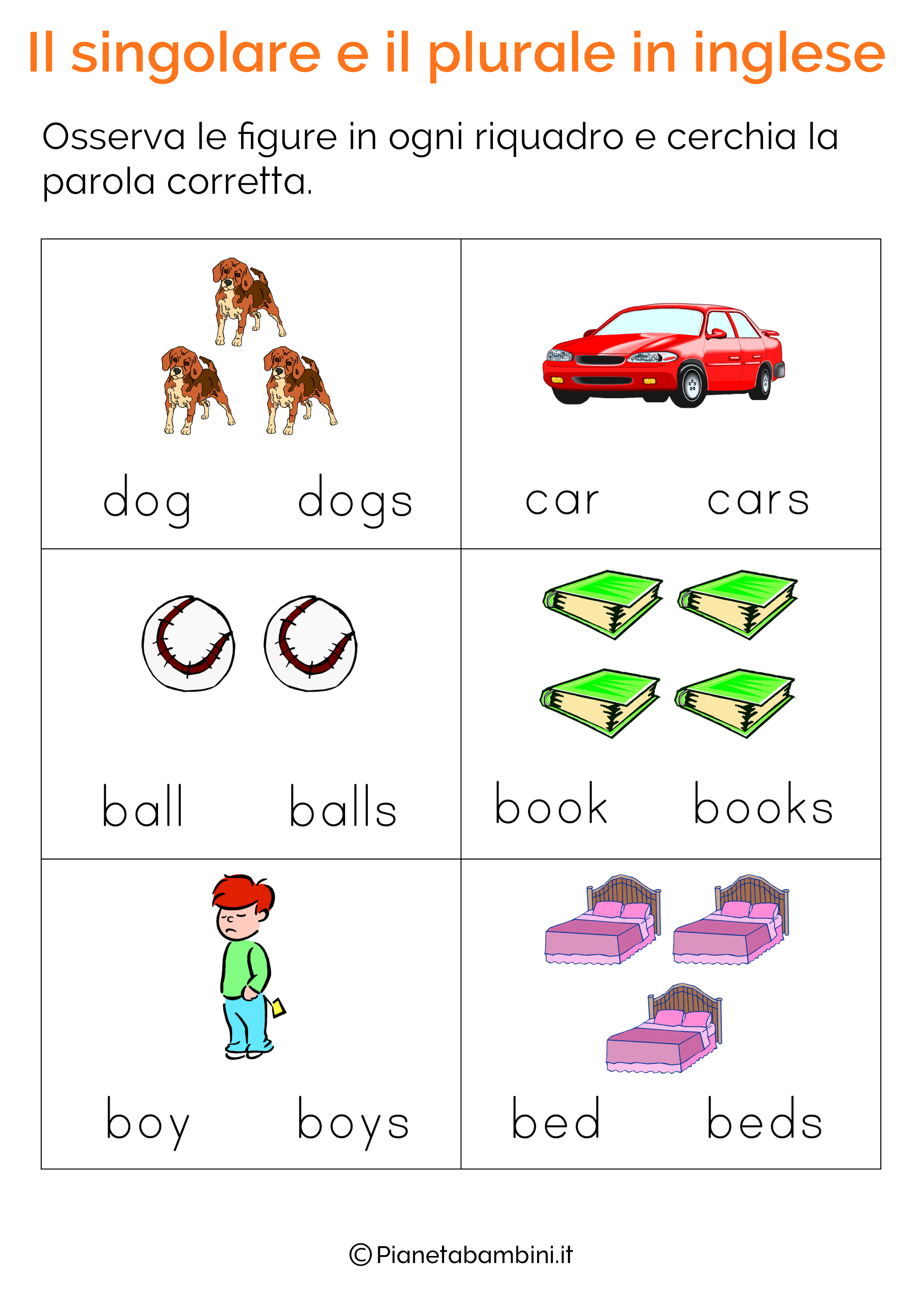Esercizi Sul Singolare E Plurale In Inglese Per Bambini Da
