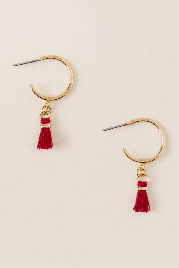 Beverly Tiny Tassel Hoop Earring Jewelry For Katies Big Day