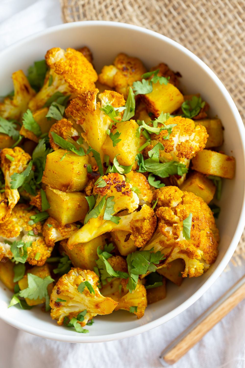 Baked Aloo Gobi Vegan Recipe (Indian Spiced Potato Cauliflower) #indianfood