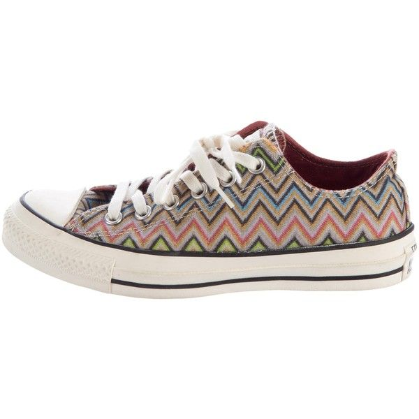 8f7c3c8e8fb1 Pre-owned Missoni x Converse Chevron Low-Top Sneakers ( 80) ❤ liked on  Polyvore featuring shoes