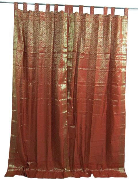 Indian Sari Curtains 2 Burnt Red Brocade Silk Window Panels 64 00