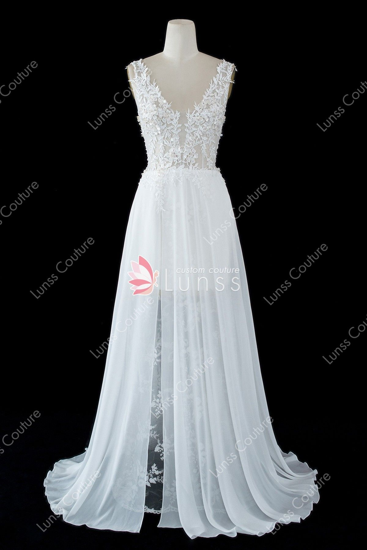 0e2a1611a70 This A-line wedding dress features a mellow V-neck bodice with sequined lace