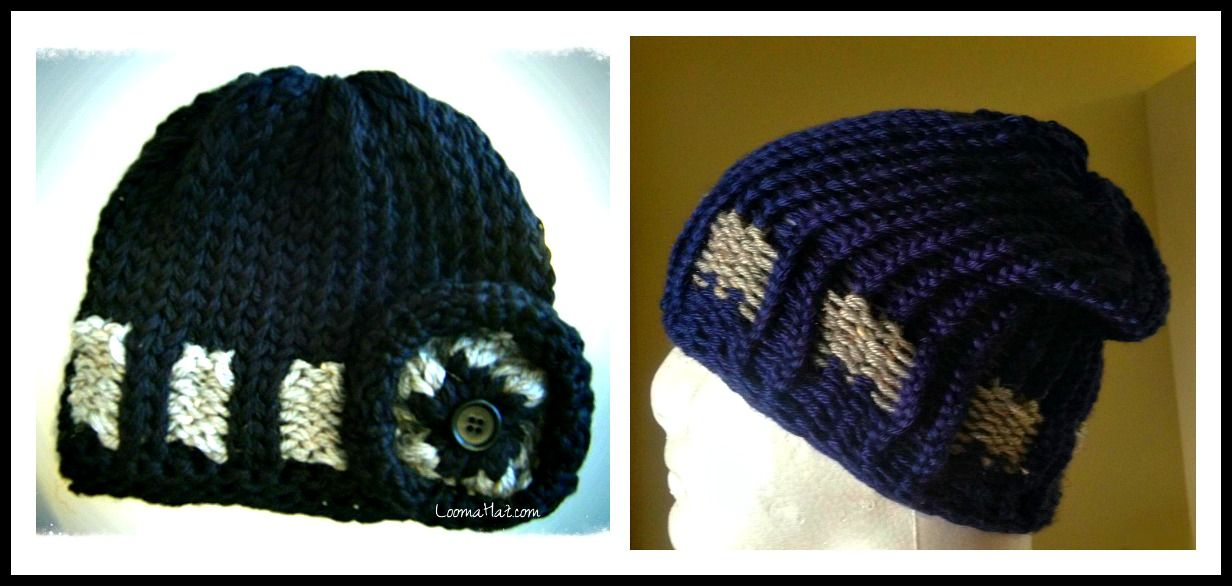 Free Loom Knit Hat Pattern Beanie Slouchy Video Checked Beenie