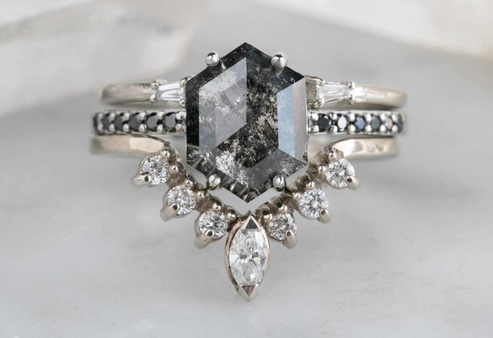 Black Hexagon Diamond Engagement Ring with Pavé Band – Alexis Russell