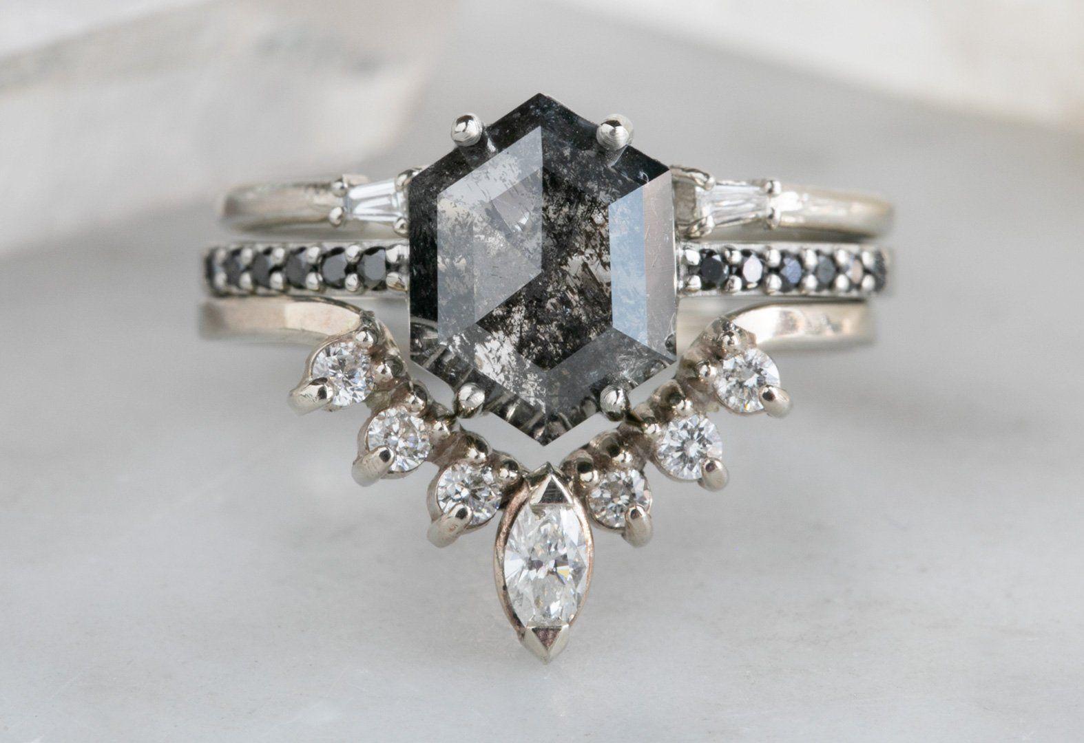 Black Hexagon Diamond Engagement Ring with Pavé Band