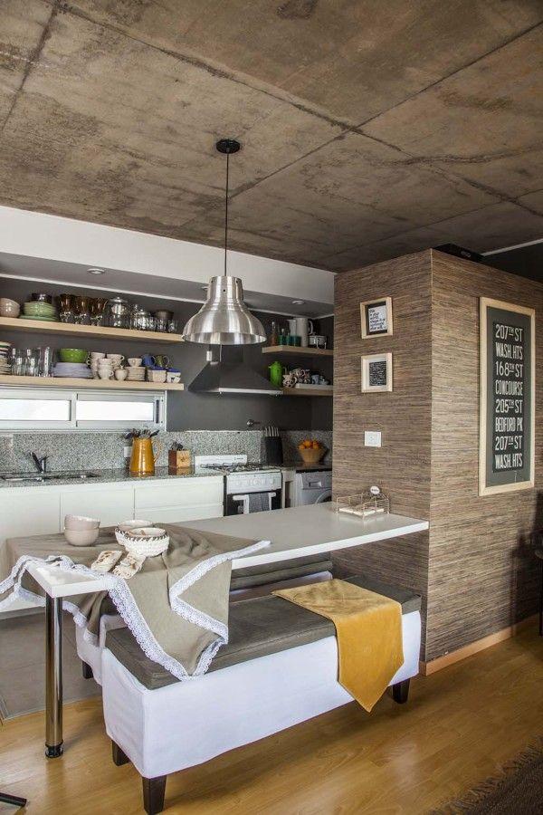 cocina comedor integrada al living  desayunador  Cocina