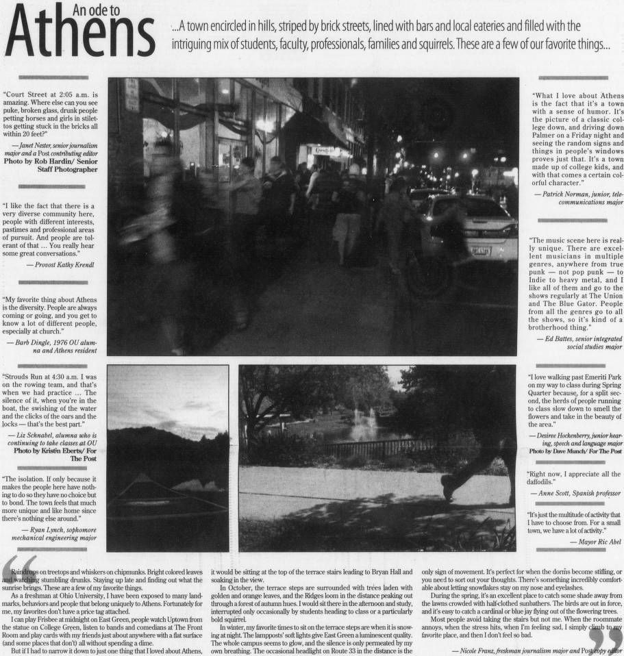 """Post (Athens, Ohio) May 23, 2006, Page 1: """"An Ode To"""