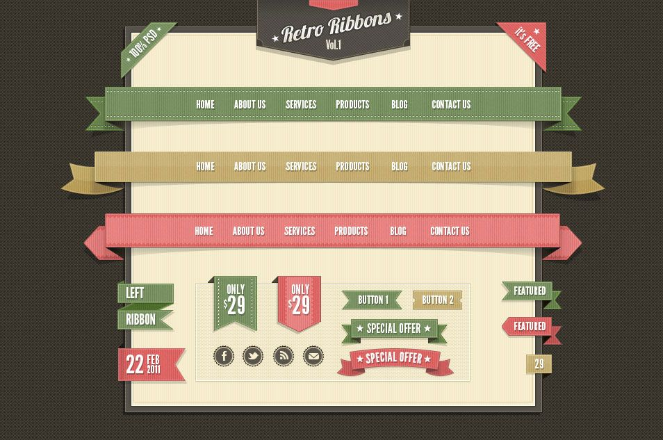 100+ Free Ribbons PSD & Vector Files For Your Designs