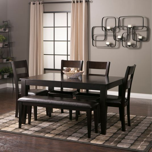 Mango 6pc Dinette Set Table 4 Side Chairs Bench In Espresso