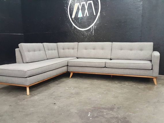 Mid Century Danish Modern Sectional Chaise Sofa | Modern ...
