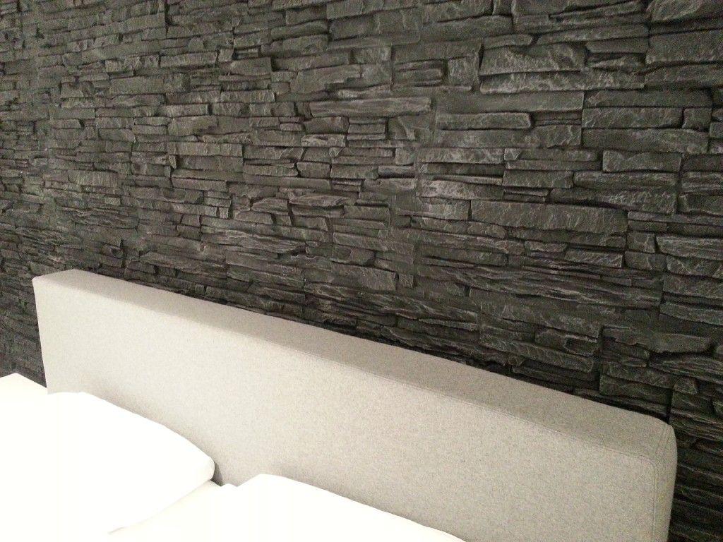 Steinwand im Schlafzimmer mit Versailles schwarz  Steinwand