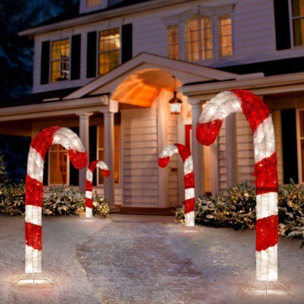 fabulous christmas yard decorations candy cane lights front yard decor ideas - Candy Cane Christmas Yard Decorations