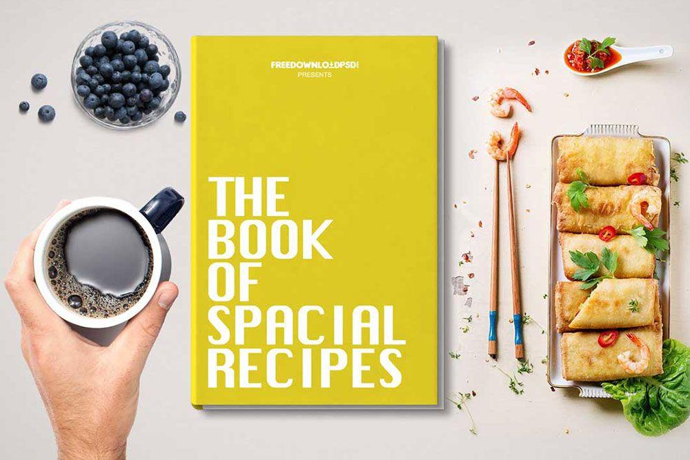 Free Book Plus Food Mockup In Psd Food Mockup Mockup Book Design