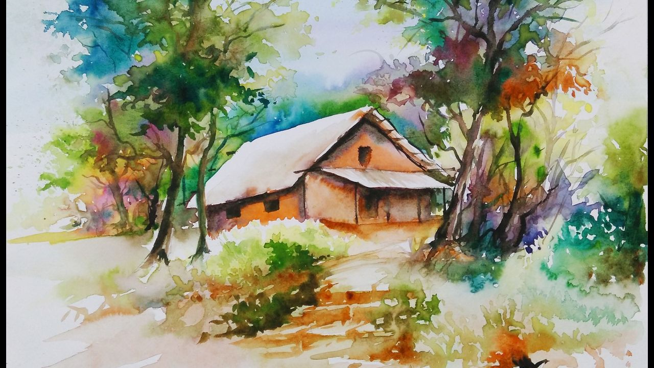 Watercolor Painting For Beginners Village Forest House Scenery