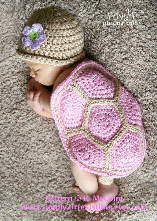 Crochet tortue nouveau-né Photo Prop avec motif gratuit   – Photo props