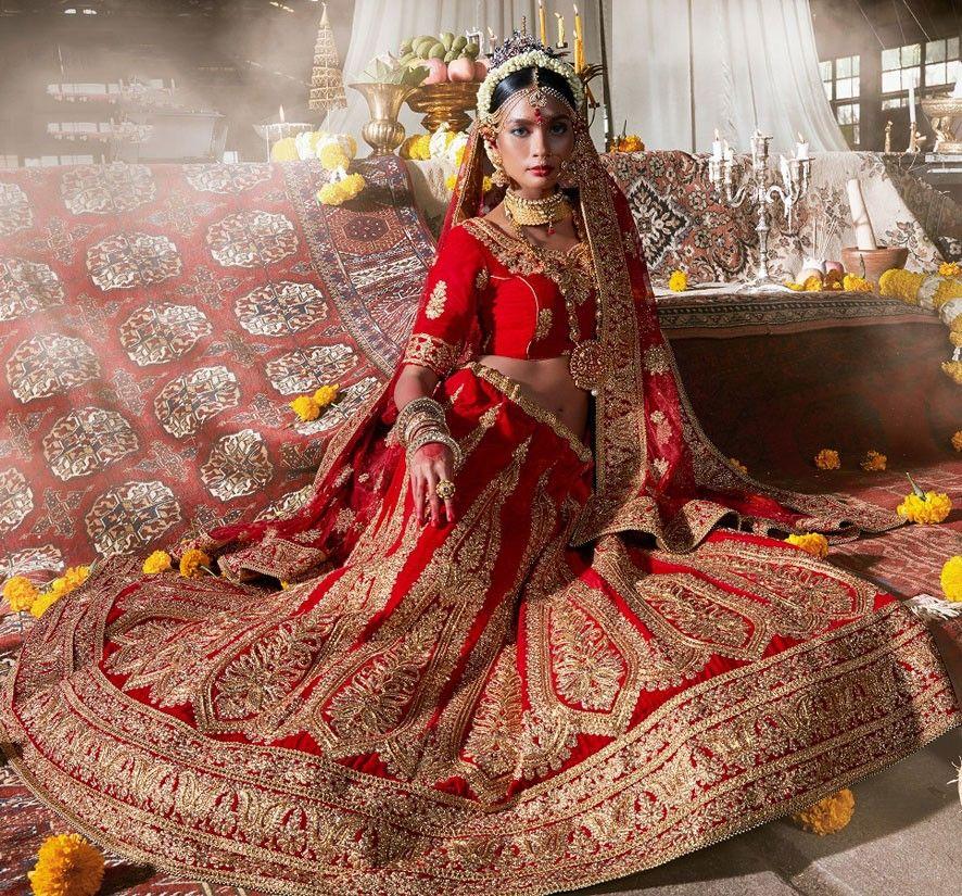 Spectacular Rust Red Bridal Lehenga Choli